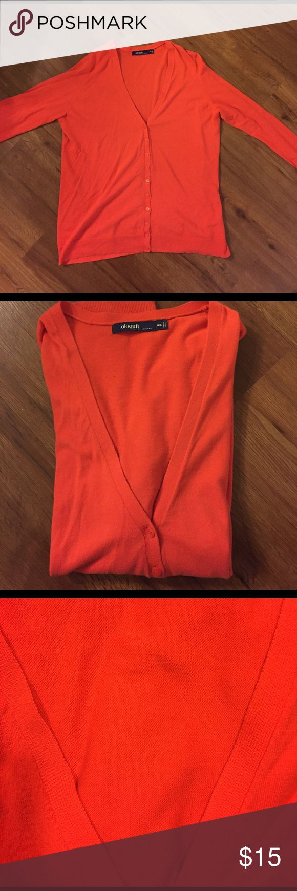 Eloquii red salmon cardigan long sleeves This red salmon long sleeved cardigan is in great condition. Perfect to throw on and hit the day! Please note size is 16/18. Willing to bundle with other colors I have listed. Eloquii Sweaters Cardigans
