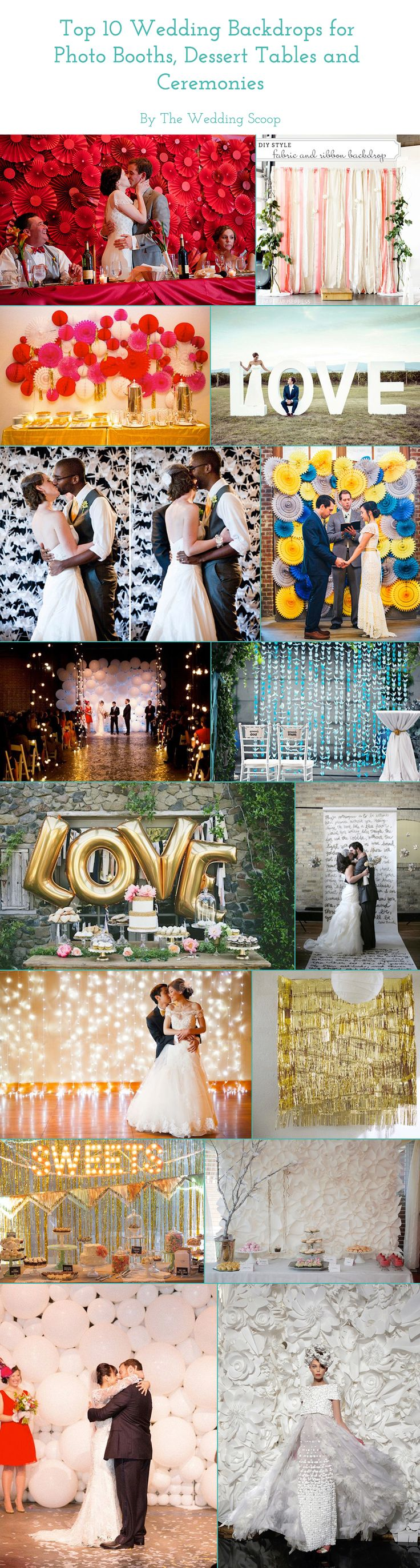 We've come across many inspiring wedding backdrops perfect for gracing the walls of photo booths, dessert tables, ceremonies and dance floors. The Wedding Scoop has rounded up our top 10 favourites that are so beautiful, you could even say your vows in front of them! Read the full article on our Blog at http://www.theweddingscoop.com/entry/top-10-wedding-backdrops-for-photo-booths-dessert-tables-and-ceremonies