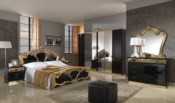 Black and gold bedroom furniture are great to get modern and classic home décors | Discover more: http://masterbedroomideas.eu/