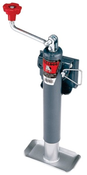 """Bulldog Retaining Ring Swivel Jacks            10"""" travel to 22.7"""" total extension      Zinc finish for dependable long life      Fits up to 3"""" x 5"""" tongue frames - includes mounting hardware      Rugged 6"""" poly caster wheel      Heavy duty swivel retaining ring with multiple locking positions      Spring-loaded locking pin for safe, secure operation      Easy-service gear box      Rolled acme threads of inner screw allow for smooth, powerful cranking      Grease fitting for easy…"""
