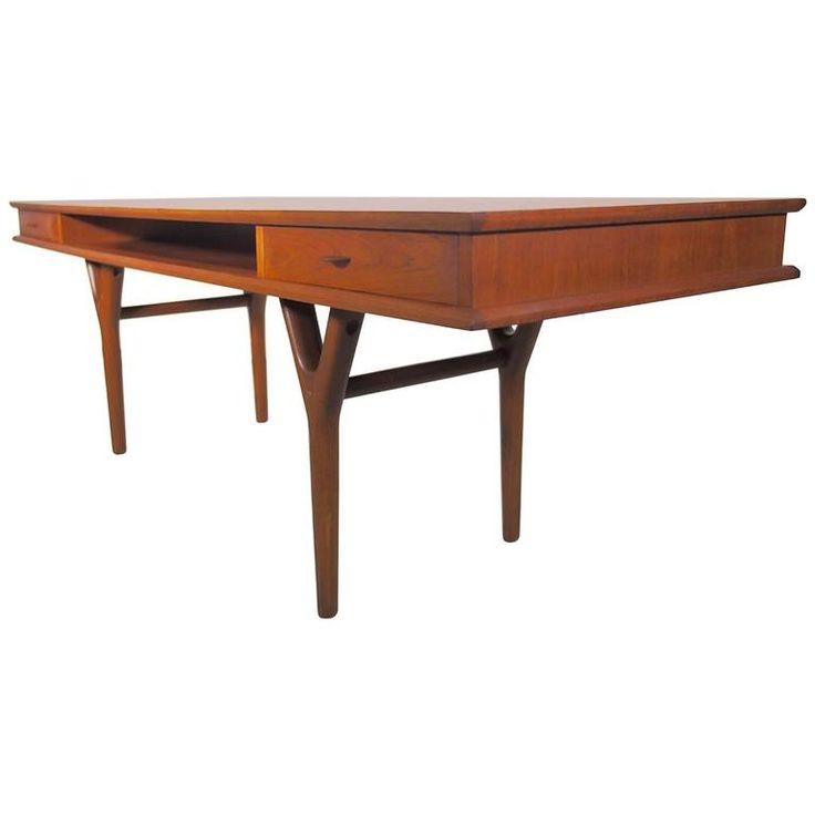 Teak Atomic Coffee Table: Danish Rectangular Teak Coffee Table With Drawers