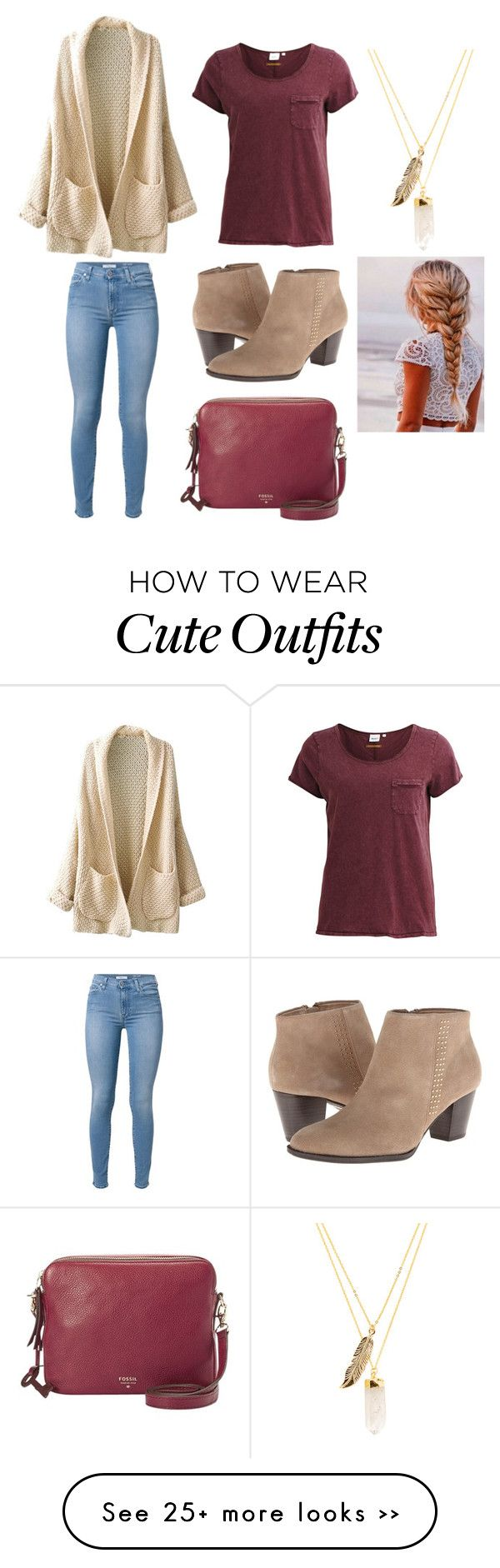 """Maroon outfit!"" by lakenj on Polyvore featuring Object Collectors Item, 7 For All Mankind, Privileged and FOSSIL"