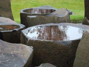 Basalt Bowls   natural bird bath