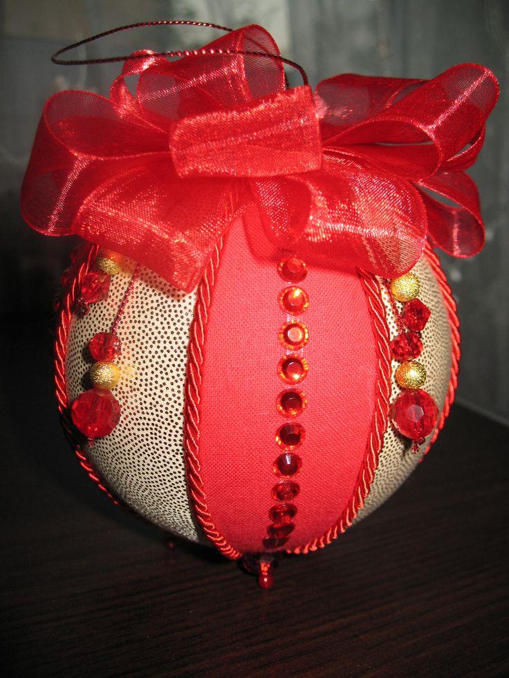 red&gold christmas ball, kimekomi with crystals