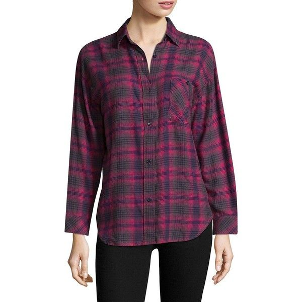 Rails Plaid-Print L'Amour Shirt (545 PEN) ❤ liked on Polyvore featuring tops, plaid long sleeve shirt, fold long sleeve shirt, purple long sleeve top, rails shirts and folding shirts