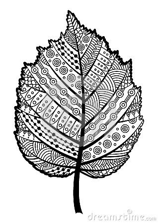 Feuille noire et blanche de Zentangle de la noisette d arbre