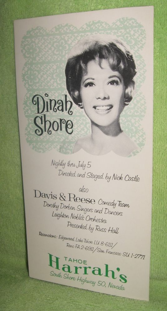 "Vintage Dinah Shore July 5, 1954 Harrah's Tahoe Postcard 8"" x 4"" Unused"