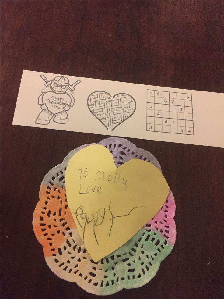 Preschool doily valentine and 1st grade activity valentine.