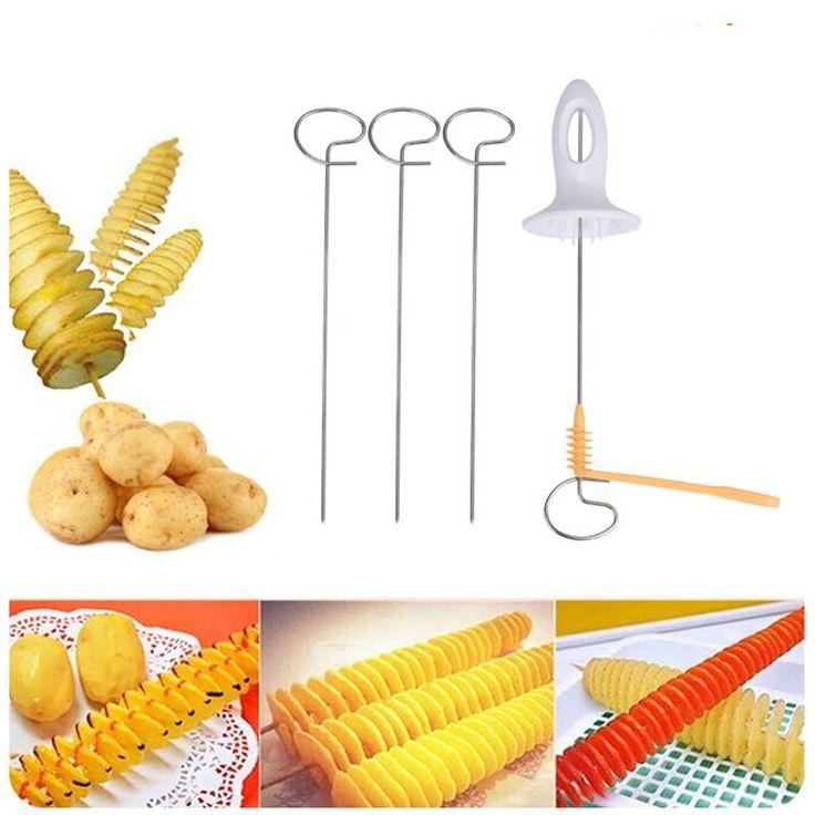 Spiral Potato Cutter Kitchen Tool Tornado Potato Spiral Cutter Slicer Chips 4 Spits Tower Making Twist Shredder For KitchenMay23