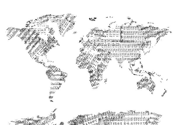 99 best world map images on pinterest digital art world maps and world map inspired by decorativevintage music note art design gumiabroncs Choice Image
