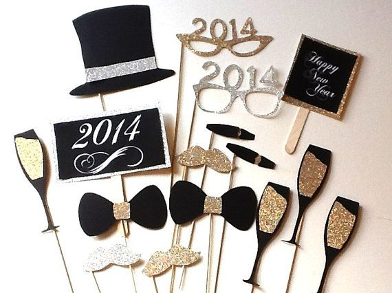 Absolutely getting these for our party!! New Years Eve Photobooth Props 2014 glitter by PhotoPropAttic, $15.00