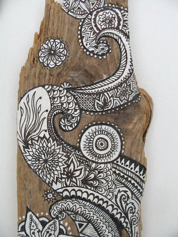 Driftwood Painting, Painted Driftwood Original Art Wall ...