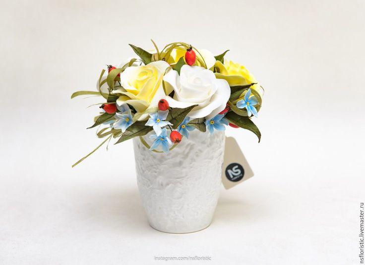 Купить Цветочное чаепитие - комбинированный, полимерная глина, ручная работа, красивые цветы, цветы в чашке