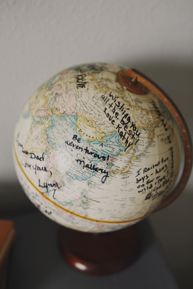 Use a globe as a guest book for a travel themed baby shower - could then put in babys nursery/room!