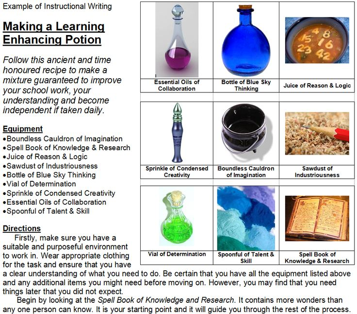 Potion - Instructional Writing - Example of Instructional Writing - Making a Learning Enhancing Potion