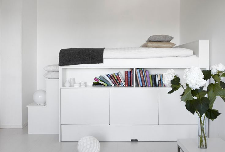 loft bed - lovely design with great shelving, storage and trundle bed ... inspiration for kids room