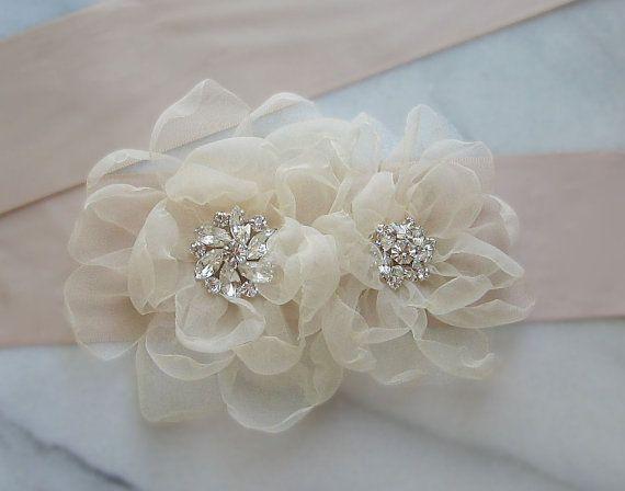 Champagne Bridal Sash Rhinestone Wedding Belt by TheRedMagnolia