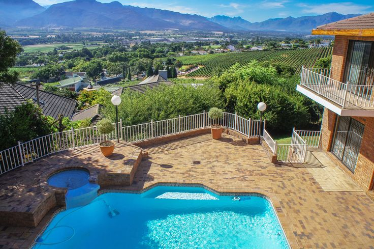 View from the balcony over the Paarl Valley of this mountainside property in Paarl, South Africa.