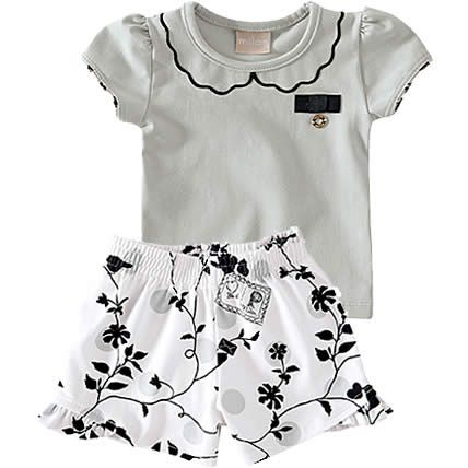 Conjunto Infantil de Menina com Shorts Estampado Cinza - Milon :: 764 Kids | Roupa bebê e infantil