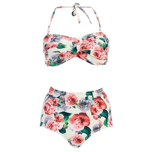 Cute Roses High Waisted bathing suit - Swimsuit for teens