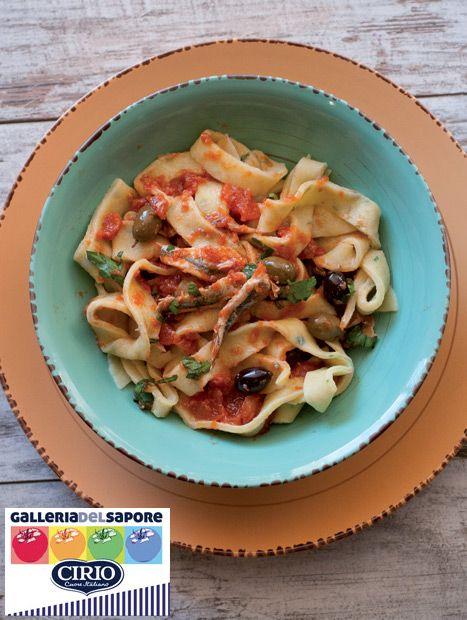 Ricetta Pappardelle alle erbe con alici e olive taggiasche di @cranberrycec (http://www.cappuccinoecornetto.com/) #galleriadelsaporecirio #Pappardelle #erbe #alici #olivetaggiasche #polpapiù