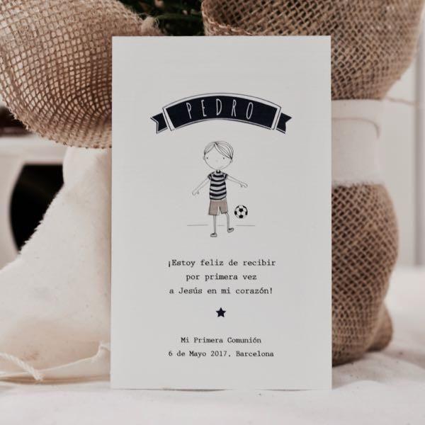 Recordatorio primera Comunión niño / La Fiesta de Olivia Barcelona / Papelería personalizada