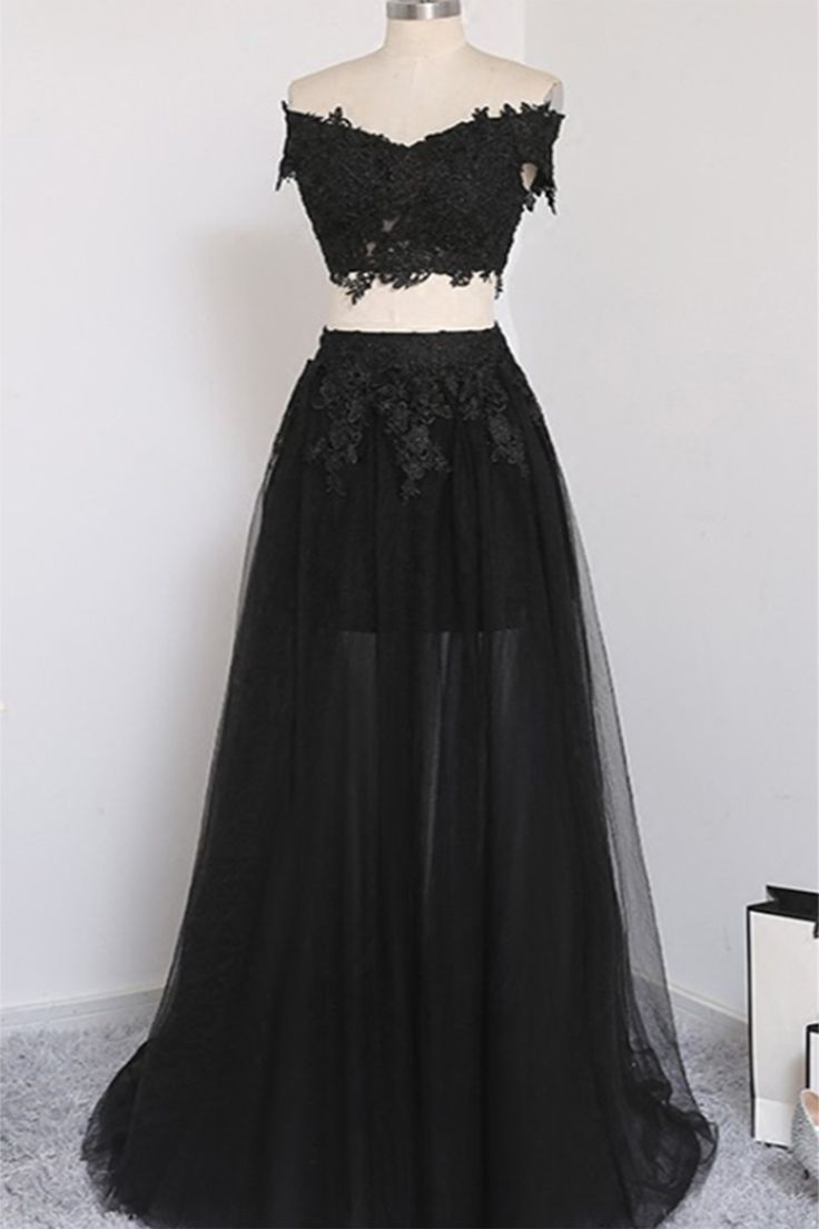 Cute black lace tulle two piece dress for prom 2018 #homecoming #prom #dress