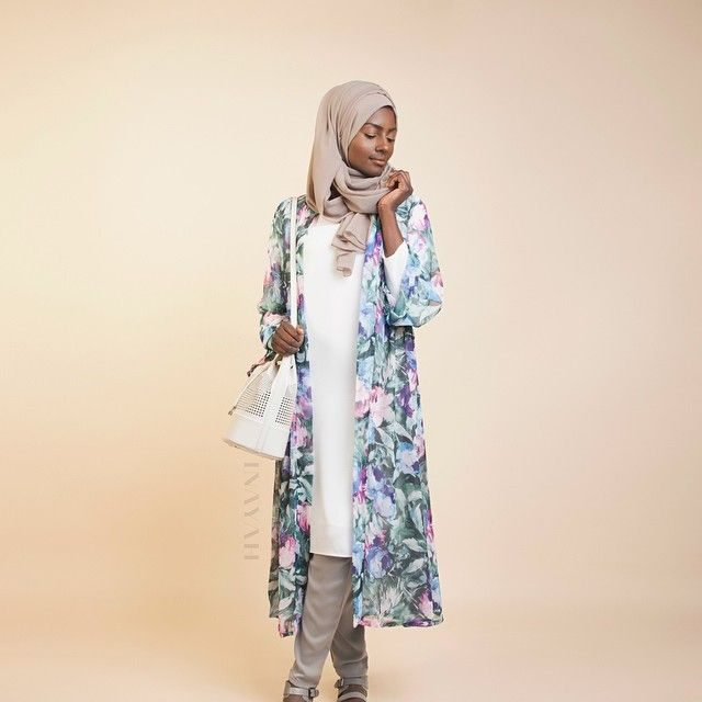INAYAH |White Crepe #Midi + Grey Crossover #Trousers + Mink Georgette #Hijab +Turquoise and Pink #Kimono (coming soon)