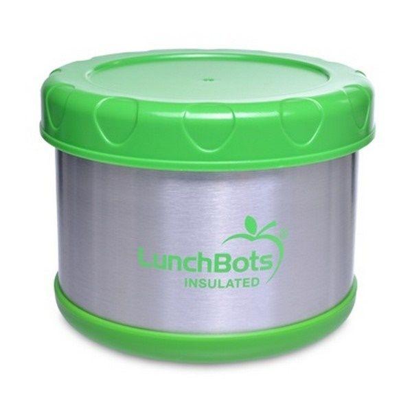 Voedselcontainer thermos van Lunchbots. Door het dubbelwandige RVS geschikt om warme en of koude gerechten in mee te nemen. Thermosfles insulated container