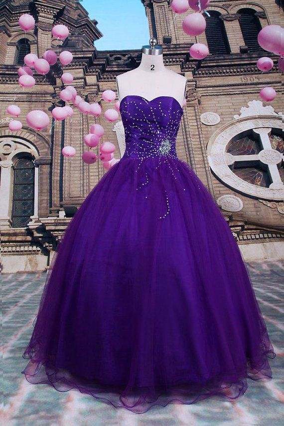 Sexy Ball Gown Purple Quinceanera Dresses Beading by AIJIAYI