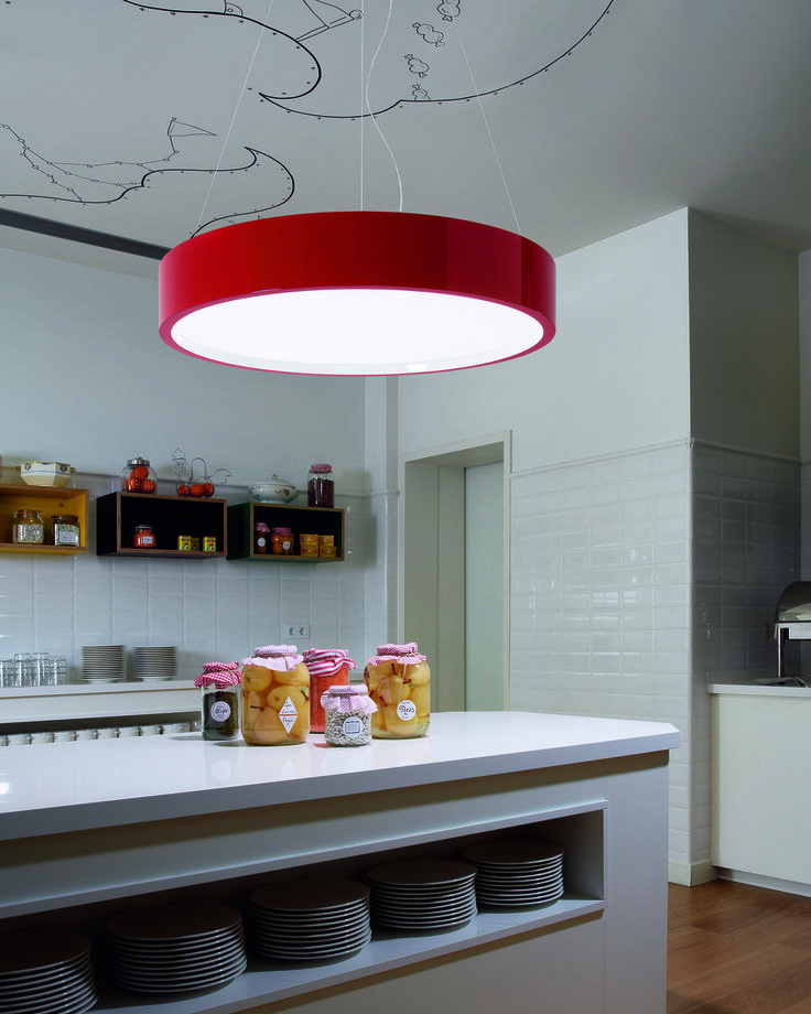 Elea pendant by bover lumens for over the circular dining table contemporary simple design relates to concept