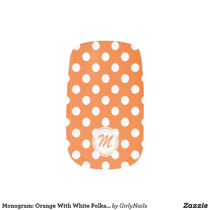 Monogram: Orange With White Polkadot Minx Nails Minx Nail Art