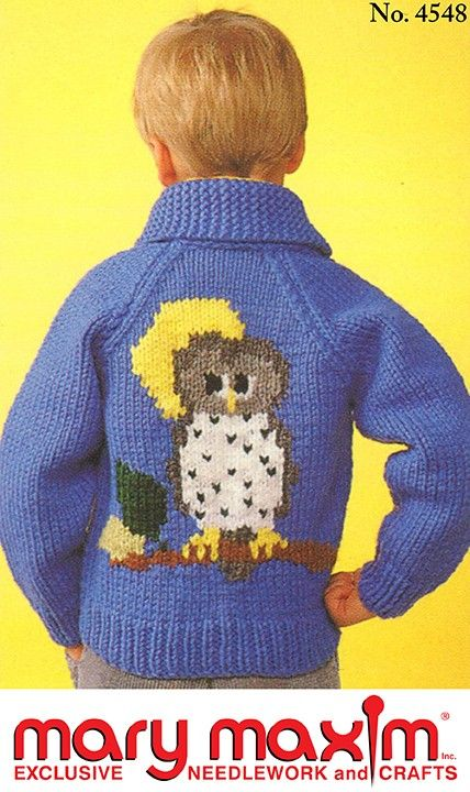 So cute and cozy for your lil owl lover-Use Mary Maxim Titan yarn to knit this sweater.