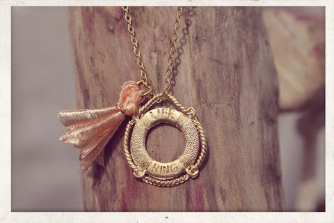 Tassel necklace made with love from 16k gold plated chain, 14k gold plated Life Ring charm and silky satin ribbons!