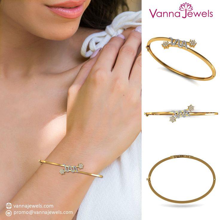Solid 18k Yellow Gold Women's Jewelry SGL Certified Genuine Diamond Pave Designer Bangle Bracelet