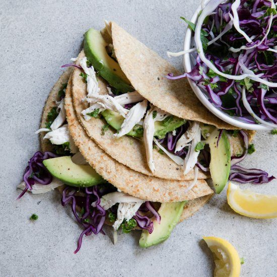 Low-carb tortillas stuffed with crispy pulled chicken, avocado and a simple crun…