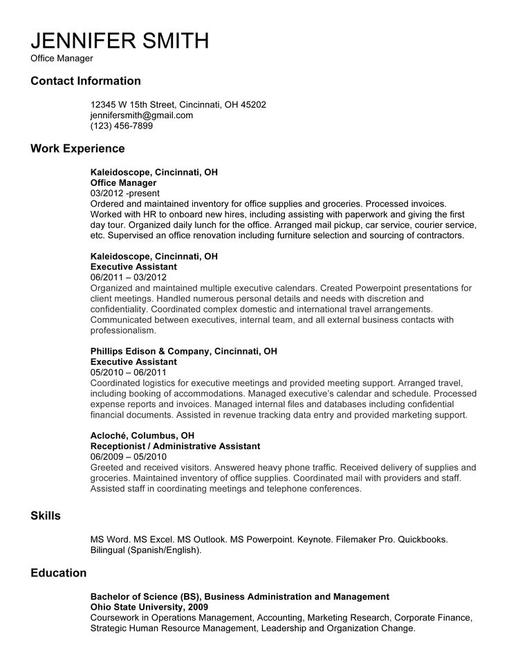 9 best Resume Tips images on Pinterest Resume examples, Resume - sample resume of office manager