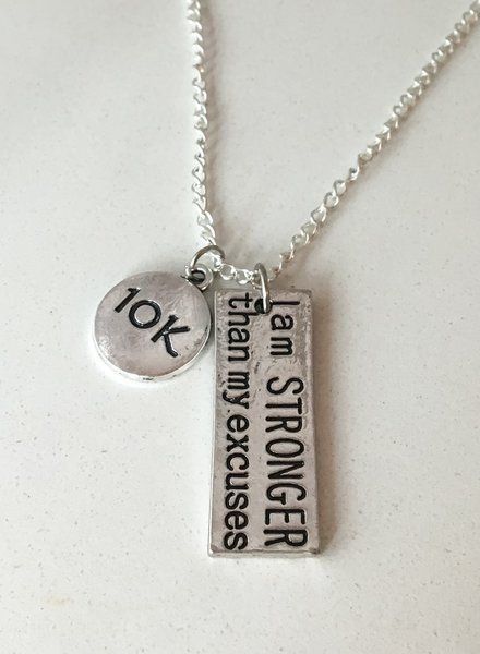 11.99$ 'I am STRONGER than my excuses' Running Necklace