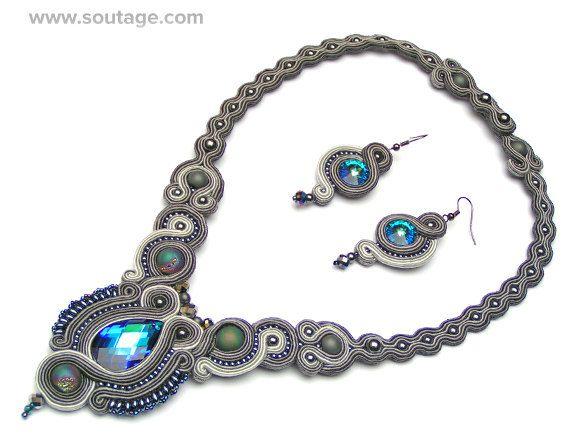 Grey Treasure  handmade soutache set of jewelry by SoutageAnka