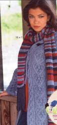 Схема вязания: Кардиган с узором из кос и шарф   Пуловеры спицами - petelka.net