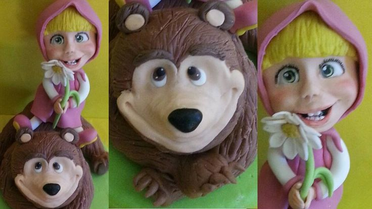 Tutorial Masha e l'orso - Masha and the bear cake topper fondant pasta d...