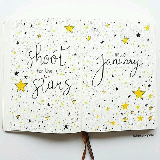 Bullet journal monthly cover page, January cover page, confetti style drawing, star drawings. | @lovestudiesz