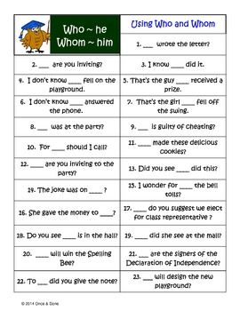 Who whom worksheet fourth grade