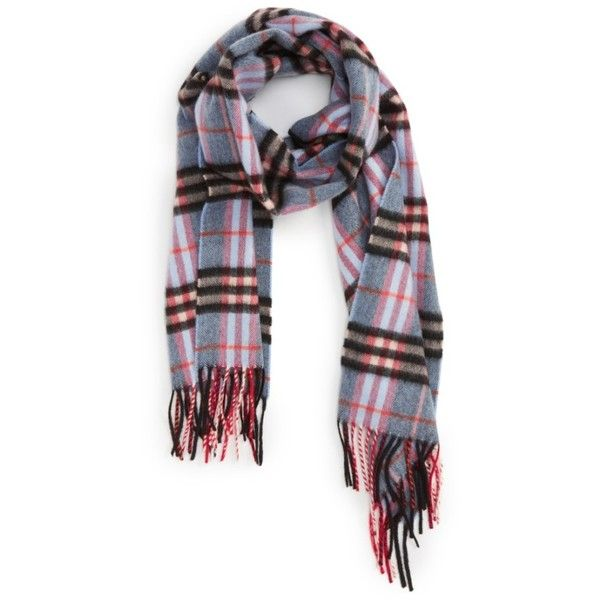 Men's Burberry Castleford Check Cashmere Scarf (1.375 BRL) ❤ liked on Polyvore featuring men's fashion, men's accessories, men's scarves, pale carbon blue, mens cashmere scarves, mens scarves and burberry mens scarves