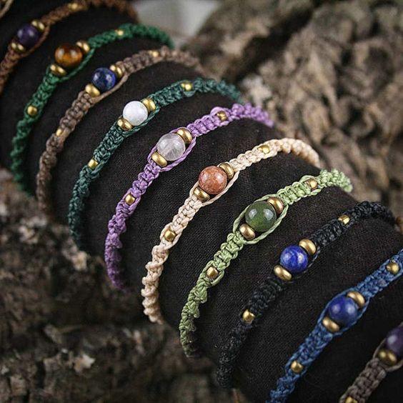 semplici ed eleganti macrame con perline