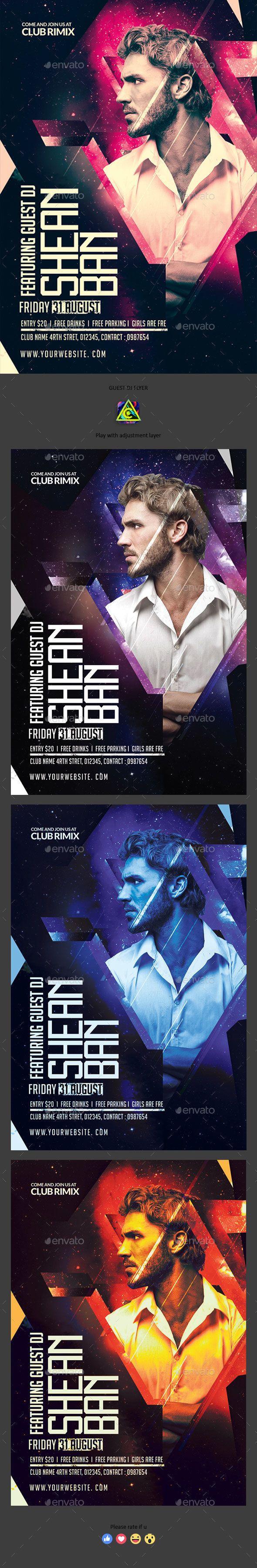 Guest DJ #Flyer - Clubs & Parties Events Download here:  https://graphicriver.net/item/guest-dj-flyer/20014603?ref=alena994