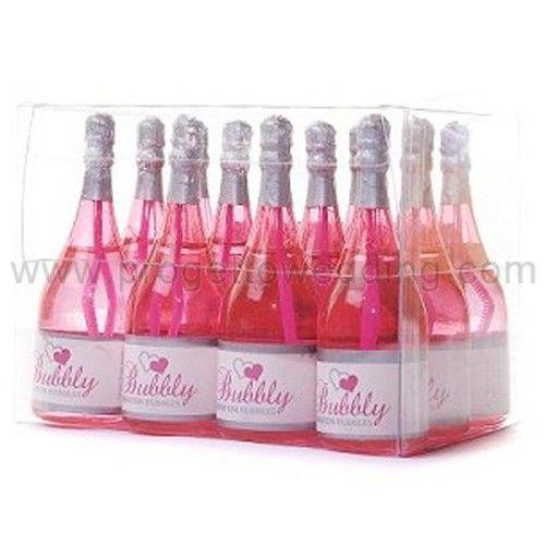 Bolle di sapone bottiglia color fucsia.  Ogni bottiglia contiene una soluzione liquida che non macchia e non è tossica.  www.progettowedding.com