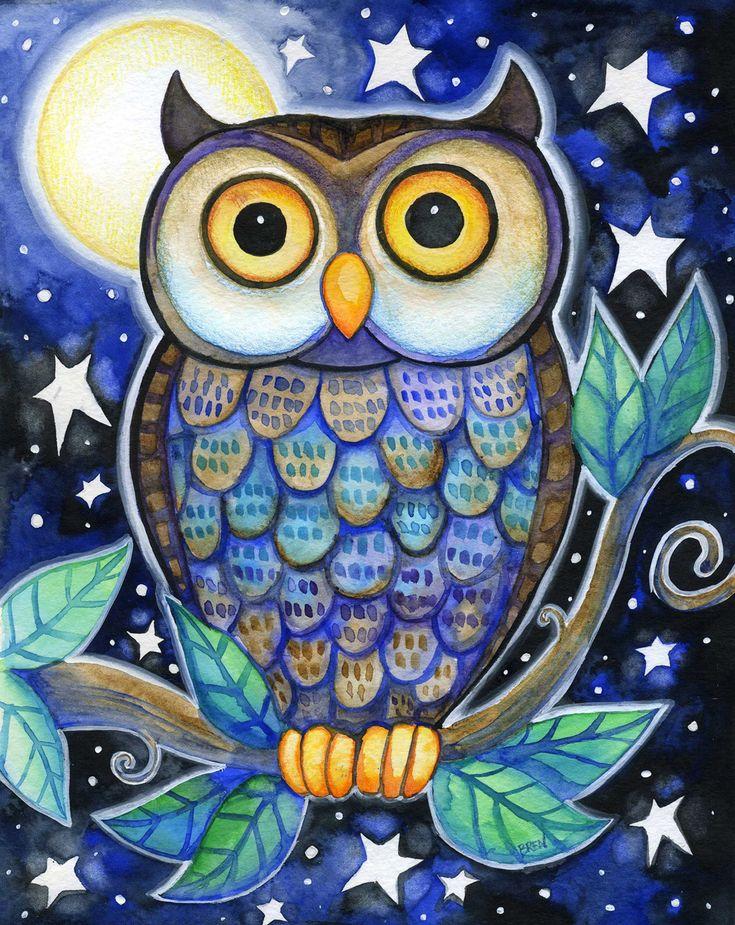 Night Owl 8x10 Colorful Owl Moon Star Print by BlueLucyStudios
