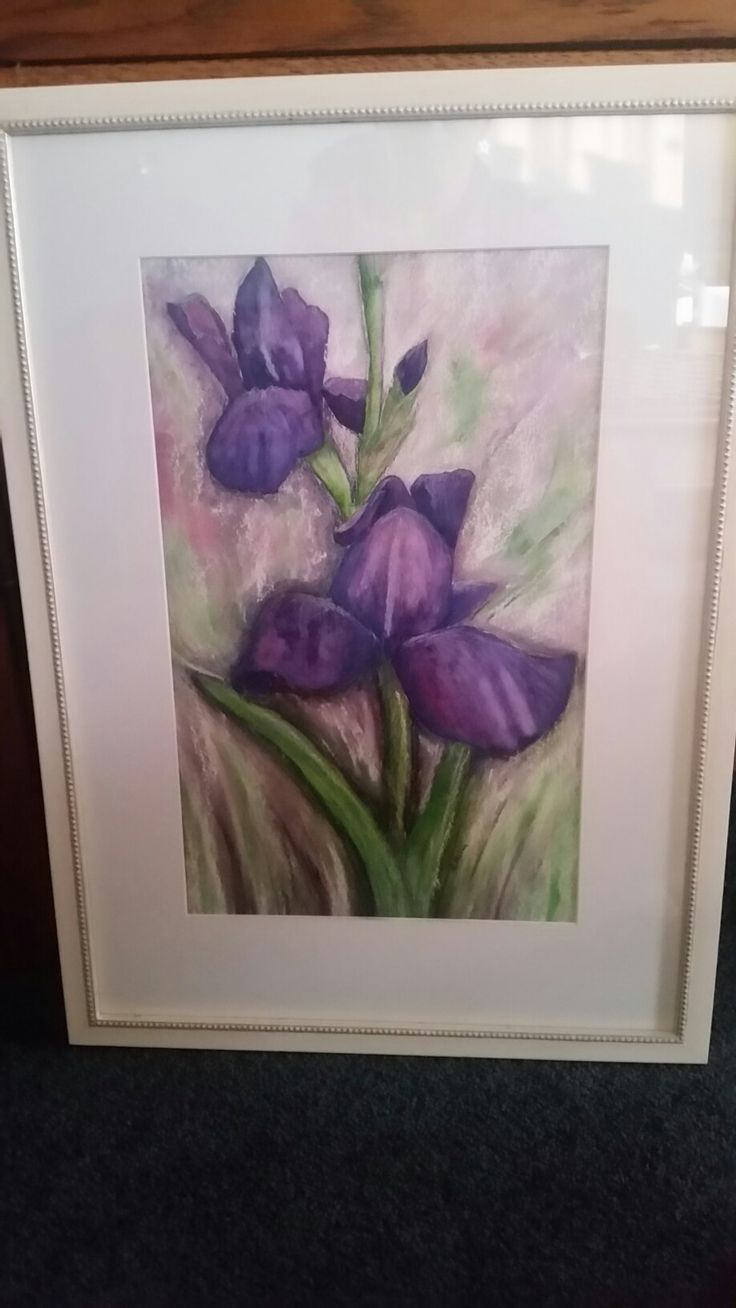 Watercolour and pastel iris framed