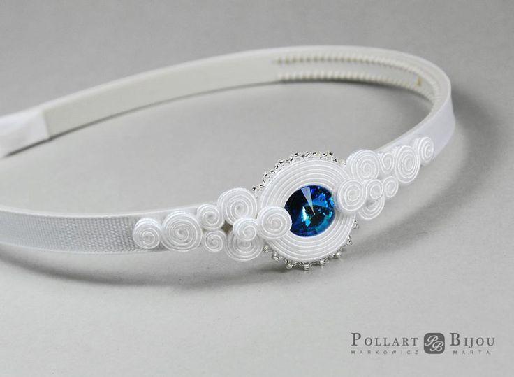 Wedding headmand soutache Headband soutache Hair jewelry White soutache…
